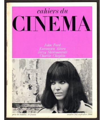 Cahiers du cinéma N°182 - Septembre 1966 - Magazine français avec Anna Karina