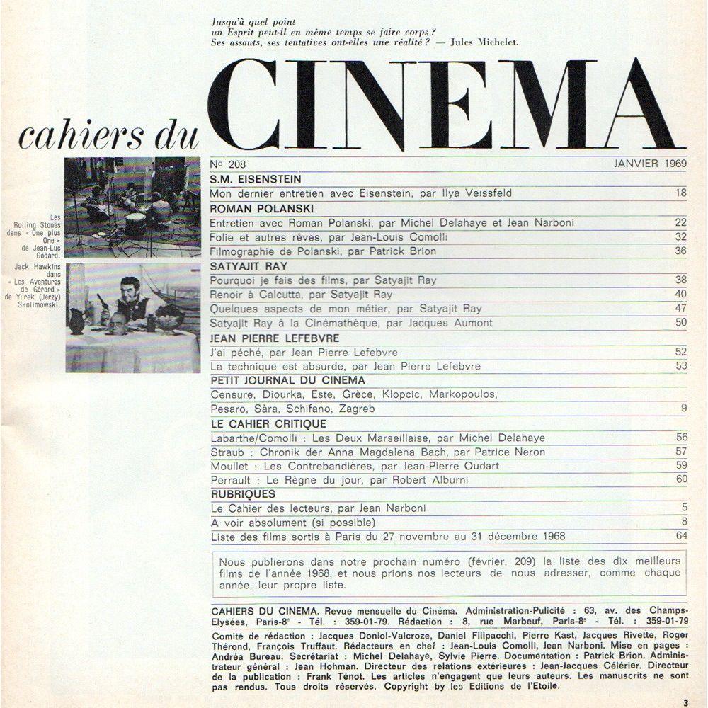 Cahiers du cinema Magazine N°208 - January 1969 with The ...