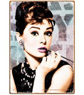 "Audrey Hepburn - Plaque en métal 8"" x 12"""