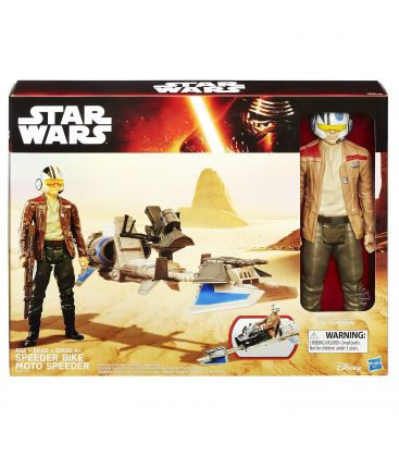 """Star Wars : Episode 7 - Le réveil de la force - Poe Dameron et speeder bike - Figurine 12"""""""