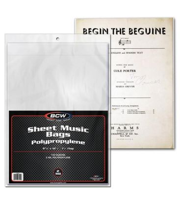 """Sheet Music 9"""" x 12"""" bags - BCW - Pack of 100"""