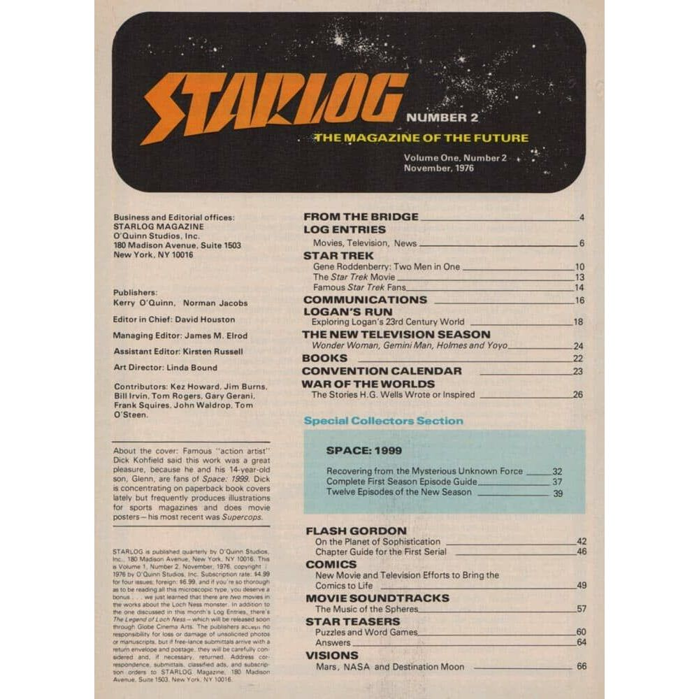 Starlog Magazine N 2 Vintage November 1976 Issue With Cosmos 1999