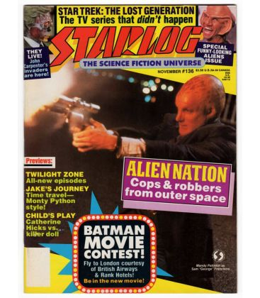 Starlog Magazine N°136 - November 1988 issue with Alien Nation