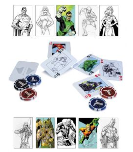 Justice League - Ensemble de poker avec cartes et jetons (Version bande dessinée)