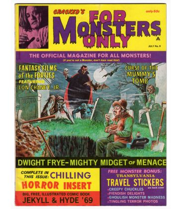 For Monsters Only Magazine N°8 - July 1969 - Vintage US Magazine with Dracula