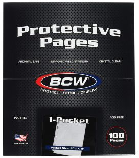 "Box of 100 1-Pocket Pages - 8.5"" x 11"" - BCW"