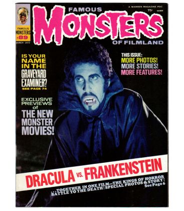 Famous Monsters of Filmland Magazine N°89 - March 1972 - Vintage US Magazine with Dracula vs Frankenstein