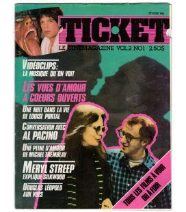 Ticket - Février 1984 - Ancien magazine québécois avec Diane Keaton et Woody Allen