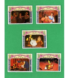 La Belle et la bête - Ensemble de 5 timbres de St. Vincent