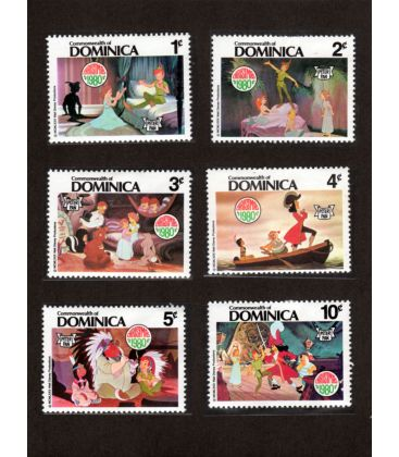 Peter Pan - Set of 5 stamps from Dominica - Christmas 1980