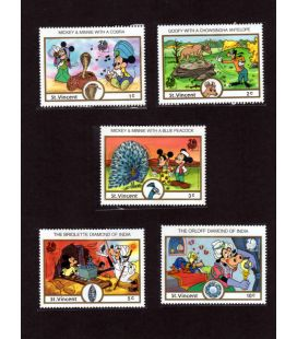 Disney - Set of 5 stamps from St. Vincent - India 1989