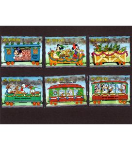 Disney - Set of 6 stamps from St. Vincent - Mickey's Christmas Train