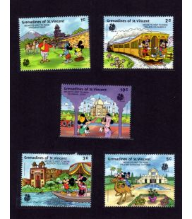 Disney - Ensemble de 5 timbres de Grenadines St. Vincent - Mickey's visit to India