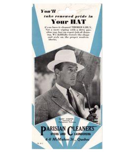 Gary Cooper - Ancienne publicité originale pour les teinturiers Parisian Cleaners
