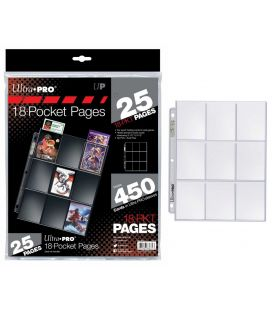 18-Pocket Pages for Trading Cards - Ultra-Pro - Pack of 25