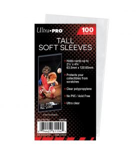 """2.5"""" x 4.75"""" Tall Card Soft Sleeves - Ultra Pro - Pack of 100"""