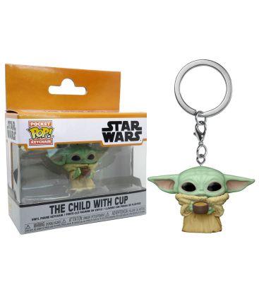 Star Wars The Mandalorian - Baby Yoda with cup - Pocket Pop Keychain
